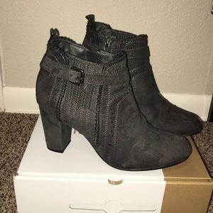 Gray short heeled boots